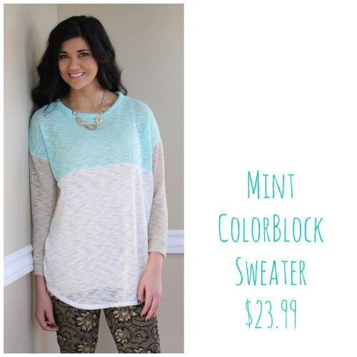 Mint colorblack..store favorite #sweater #colorblock #leggings #necklace #newarrivals #shopbellame