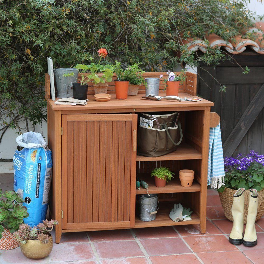 Outdoor Storage Cabinets Potting Bench Cabinet Garden ...