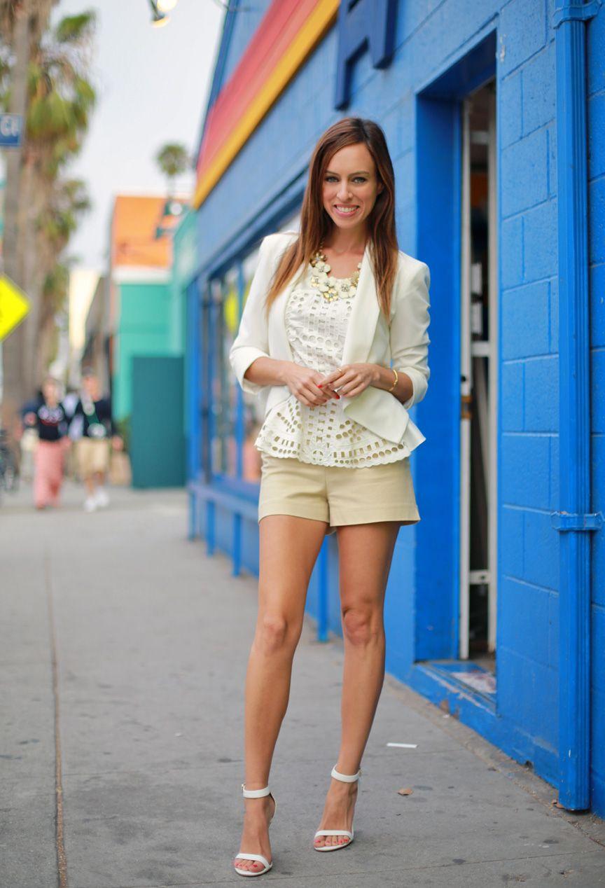 Sydne Style white peplum top summer shorts suit khaki bebe blazer ...