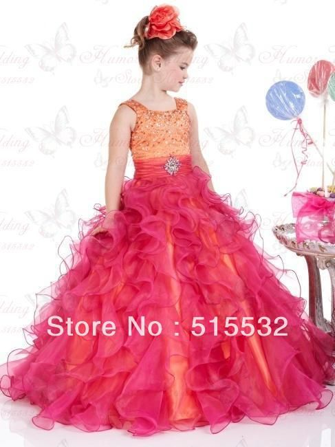 Free Shipping Beading Pleat Flower Girl Dress kids prom dresses ...