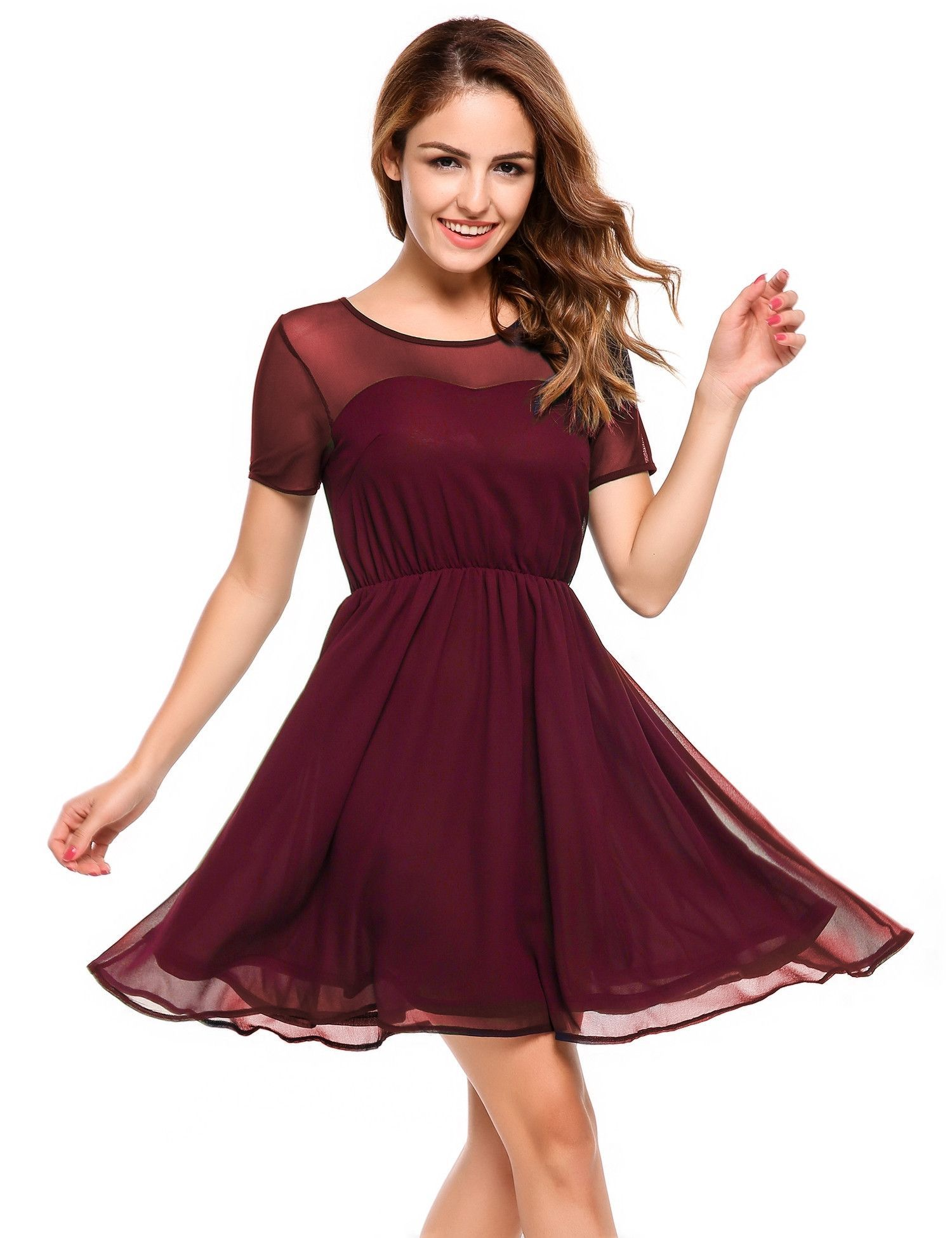 47dc0b276ba Red Short Sleeve Mesh Chiffon Fit and Flare Dress