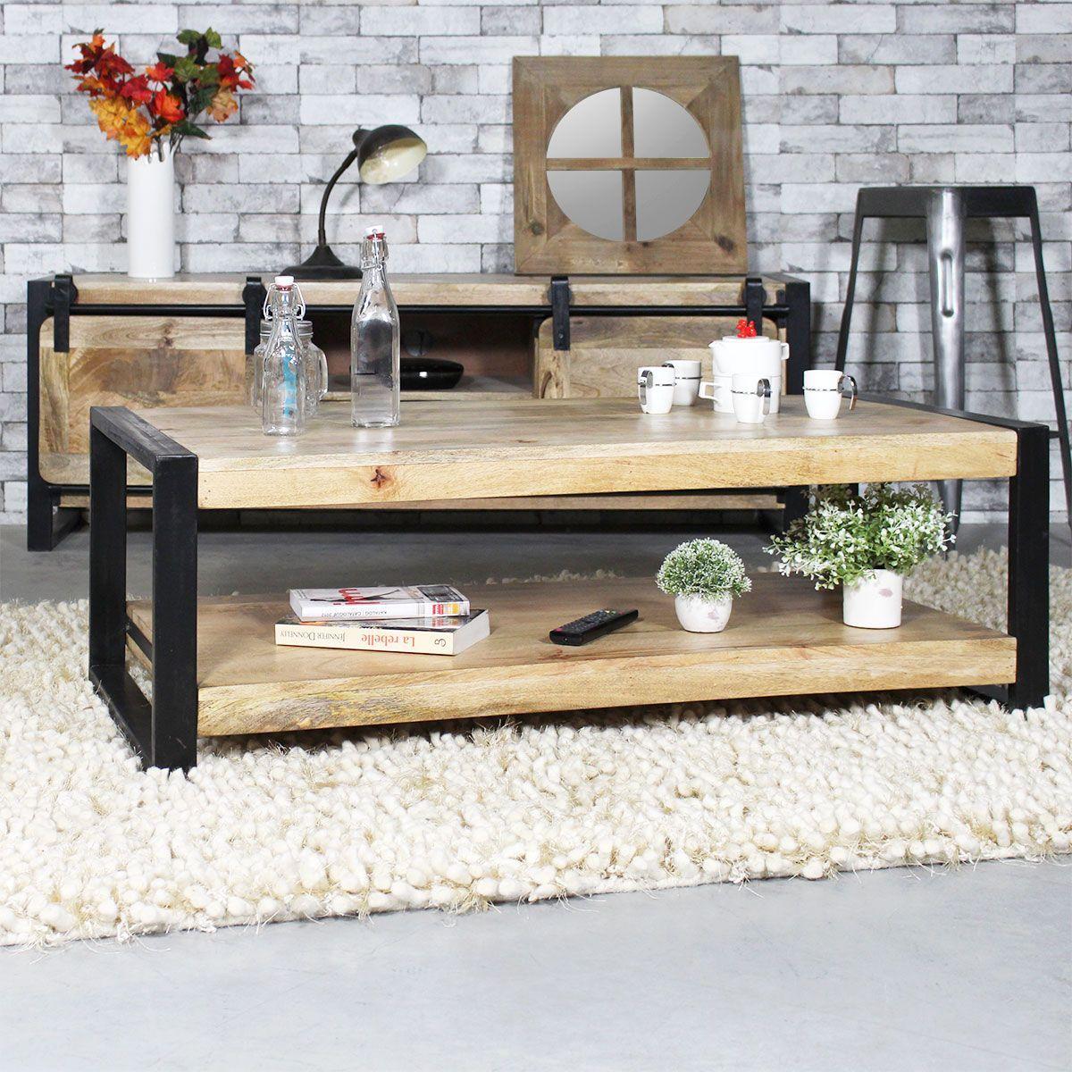 Table basse industrielle 2 plateaux petit mod le mr7 table basse bois metal table basse - Fabriquer une table en bois massif ...