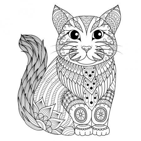 Dibujo gato zentangle para colorear página, efecto de diseño de ...
