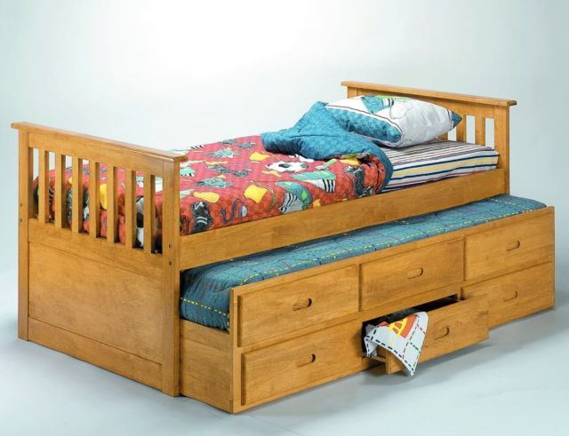 Pine Captains 3ft Single Bed With Stowaway Guest Bed Trundle 3