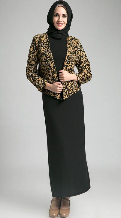 Model Baju Batik Kantor Kombinasi Kain Polos  Model baju batik