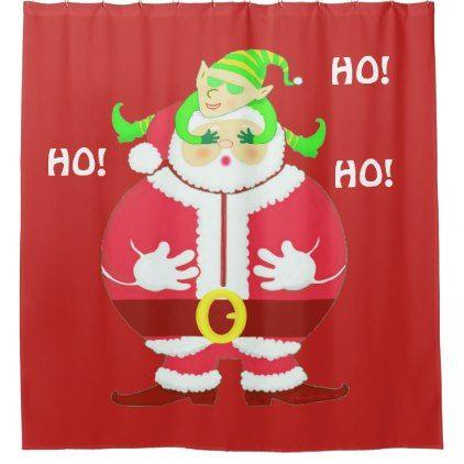 Surprised Santa Shower Curtain Backdrop