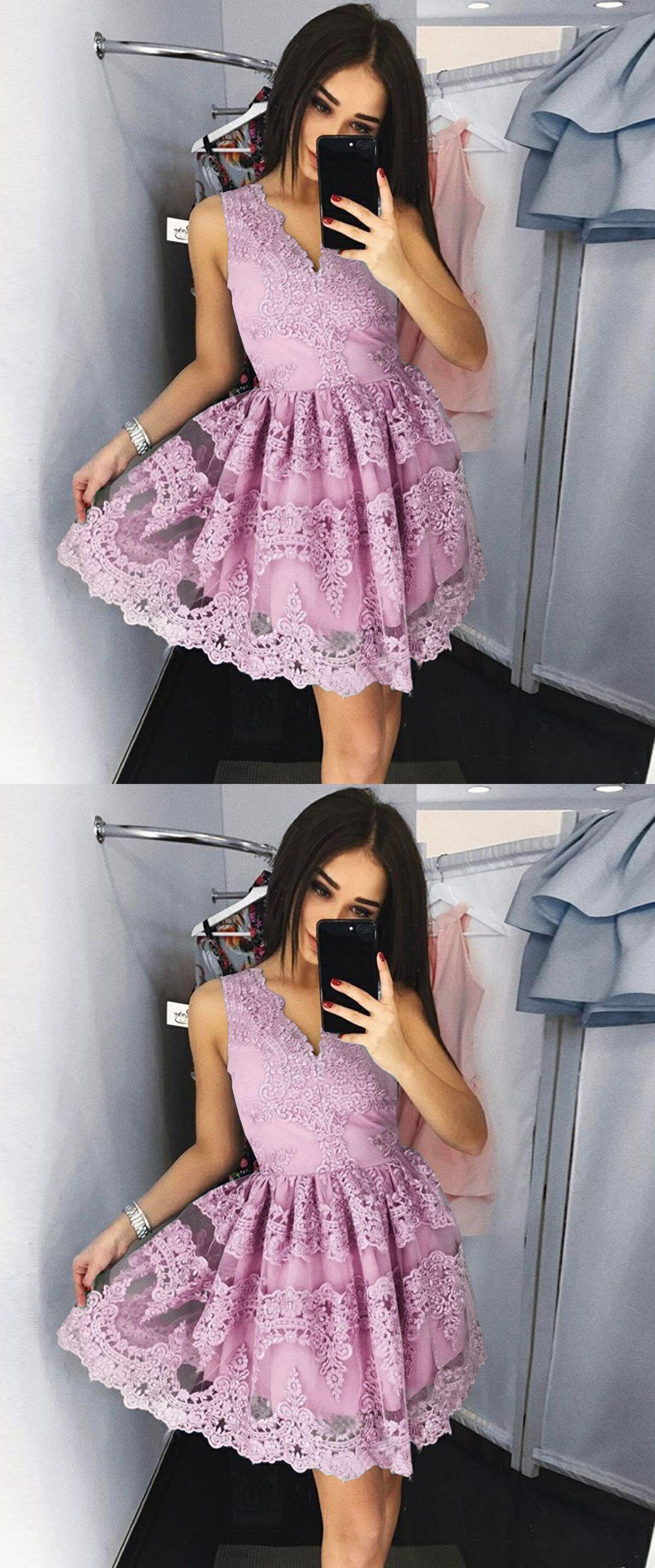 e1f3b0313d4 A-Line V-Neck Short Light Sky Blue Tulle Homecoming Dress with ...