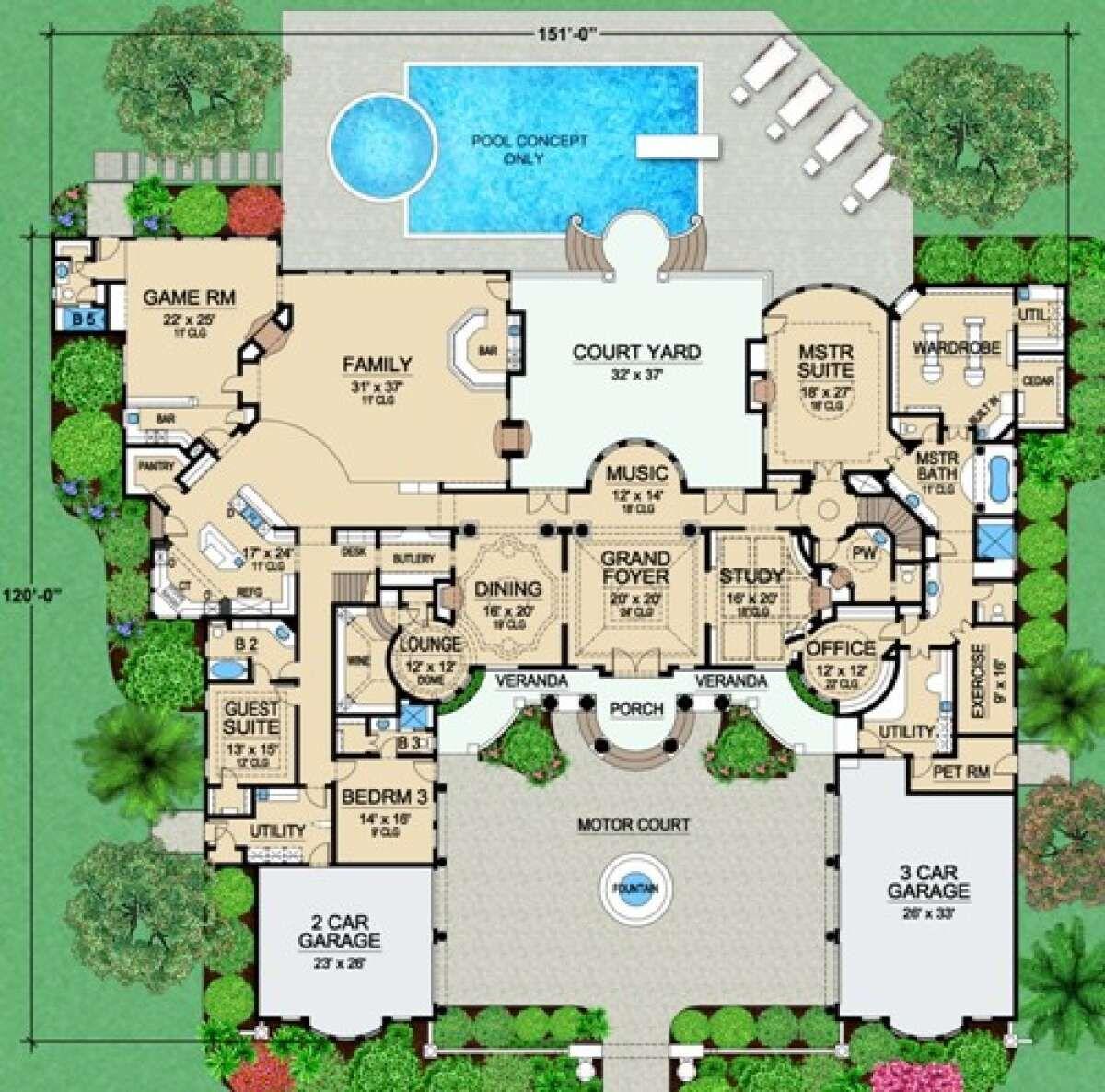 House Plan 5445 00476 Mediterranean Plan 9 253 Square Feet 4 Bedrooms 5 5 Bathrooms In 2021 House Plans Mansion Mansion Floor Plan Luxury Floor Plans