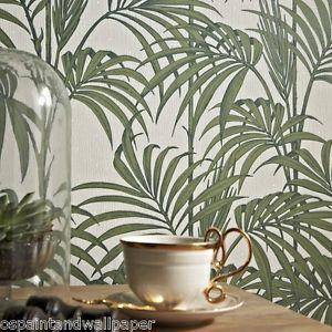 Feature Wallpaper Palm Tree Leaf Pattern Glitter Motif Black Gold Green Fuchsia