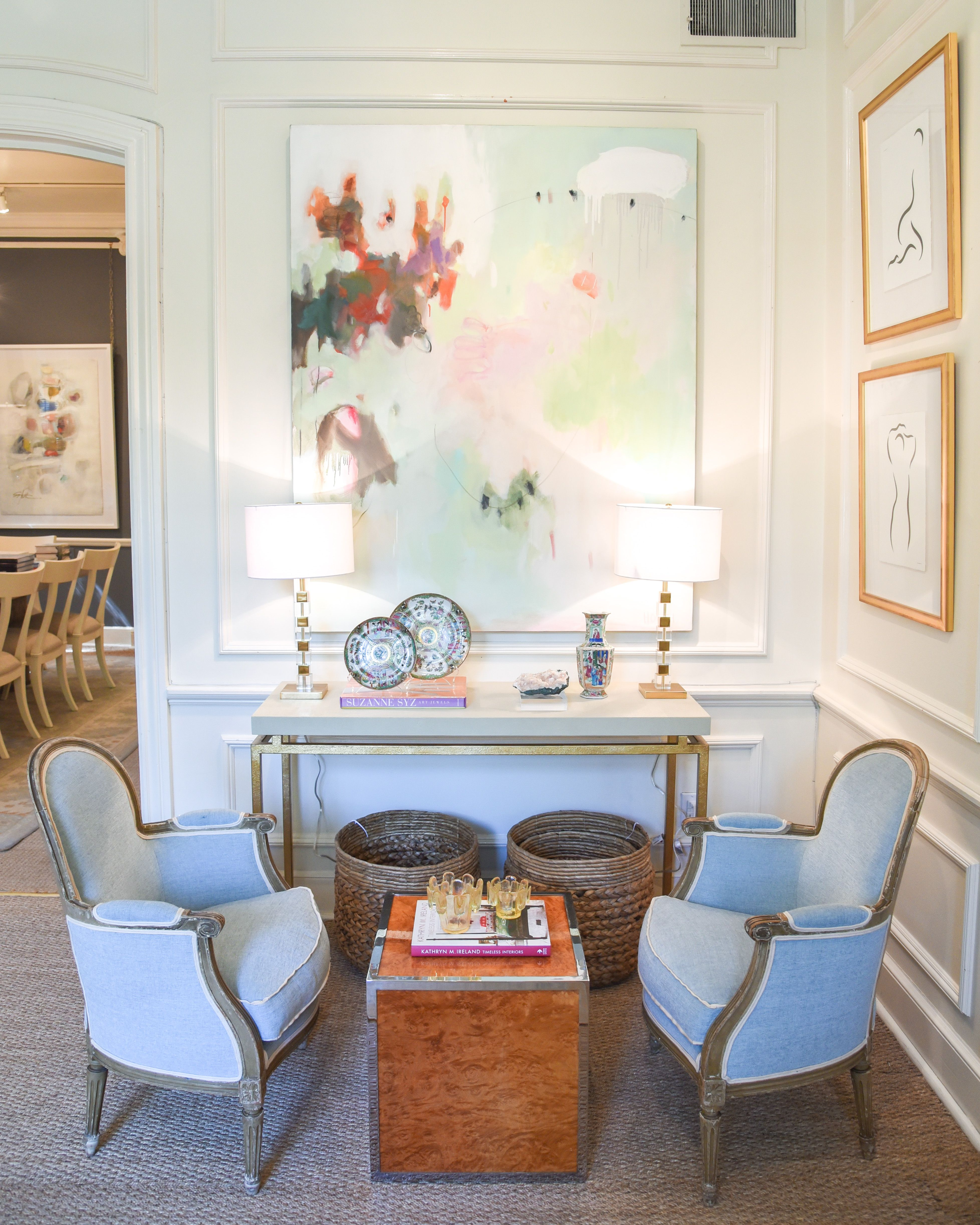 antique chair with light blue upholstery | art by joyce howell ...