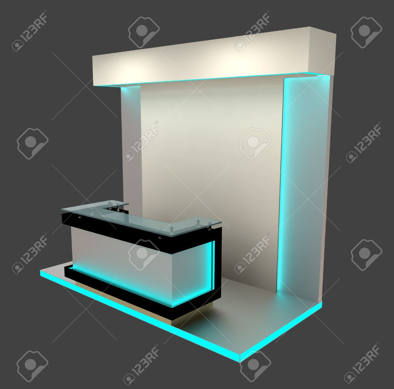 Exhibition Booth Counter : Abstract exhibition booth kiosk reception counter