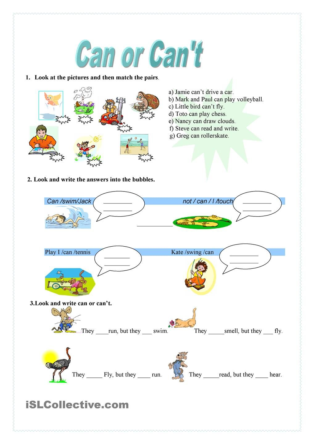 Can Or CanT  Worksheet  Kindergarten Level  Learn English For