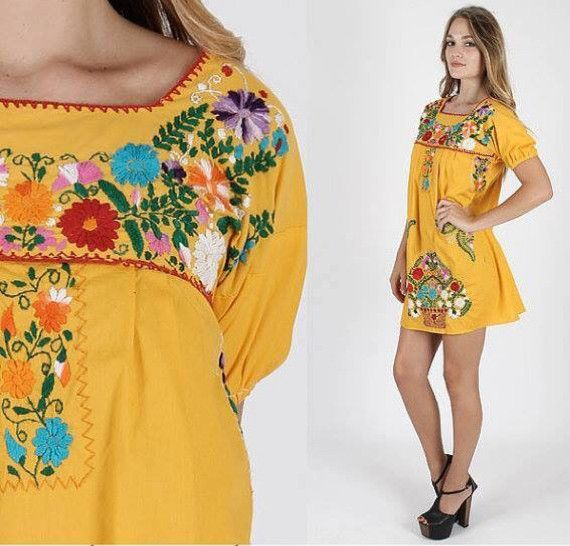 Clic Traditional Mexican Dresses For Women Soft Cotton Blend Fabric With Colorful Embroidery All Over The Front Area This Is Short Mini Dress Style