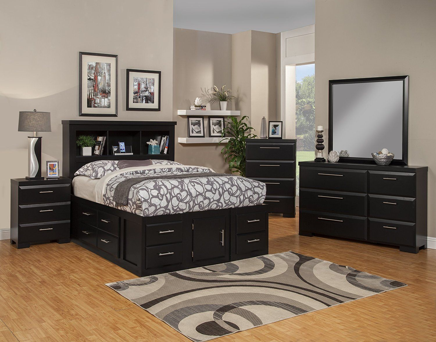 Sandberg Furniture Serenity 12 Drawer Ultimate Storage Bed Queen