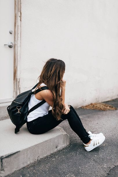 50735cbd233f Bag  tumblr back to school backpack black backpack jeans black jeans  sneakers low top sneakers white