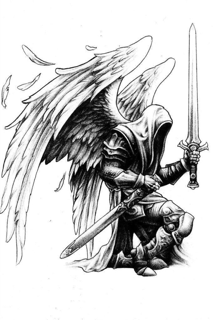 3769d97c5 Angel warrior | sketching | Tatuagem de anjo guerreiro, Tatuagem ...