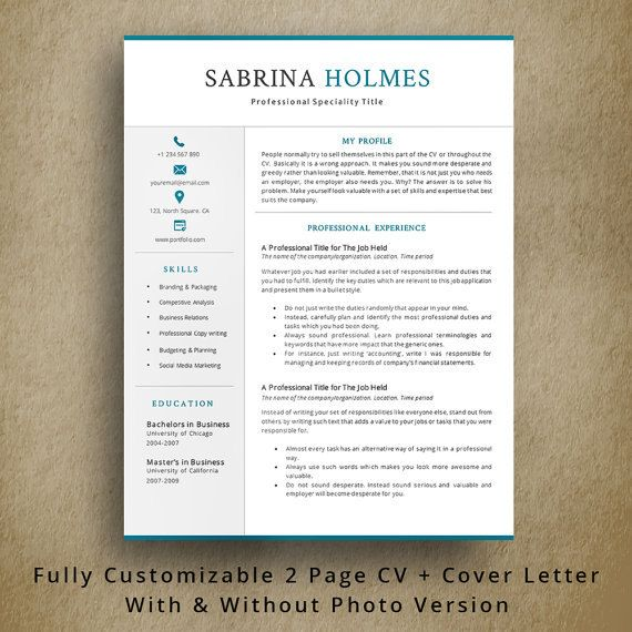 Page Professional Resume Template  Creative Cv Template  Cover