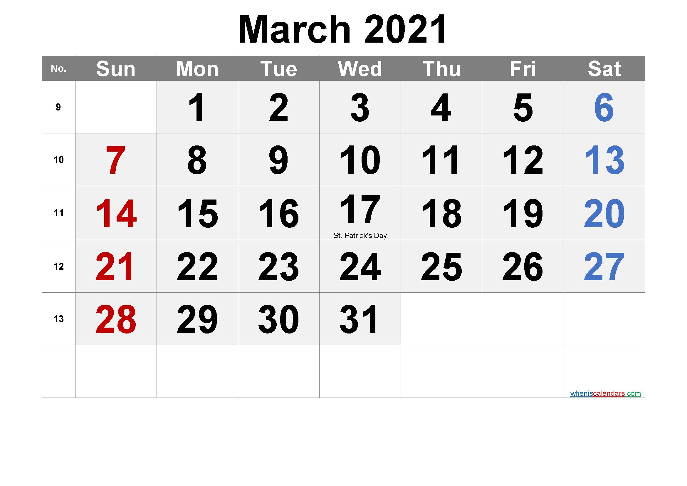 Free Printable March 2021 Calendar In 2020 2021 Calendar Calendar Printables Printable Calendar Template