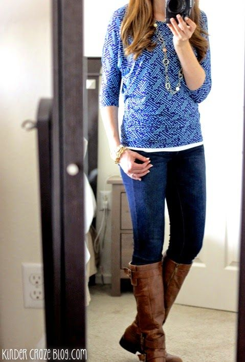 berneen printed dolman sleeve top from stitch fix with skinny jeans, brown boots, and gold jewelry #stitchfix