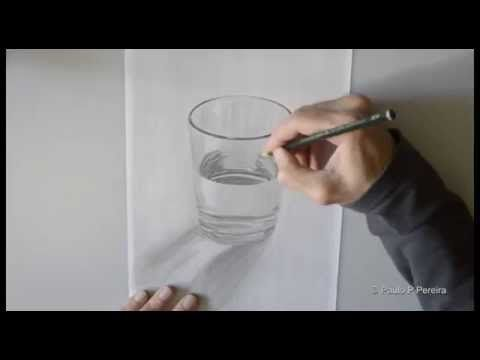 how to draw glass in pencil drawing - YouTube