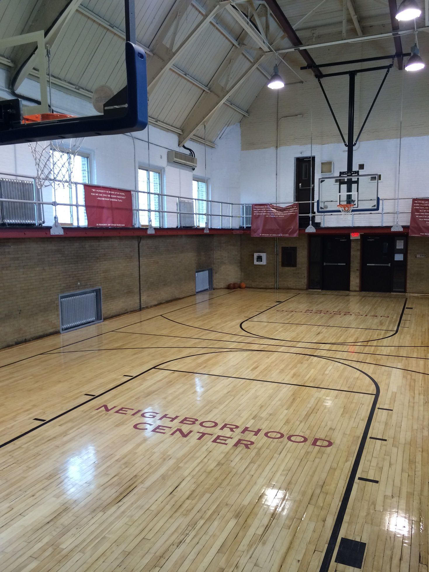 Indoor Basketball Court In A Small Gym