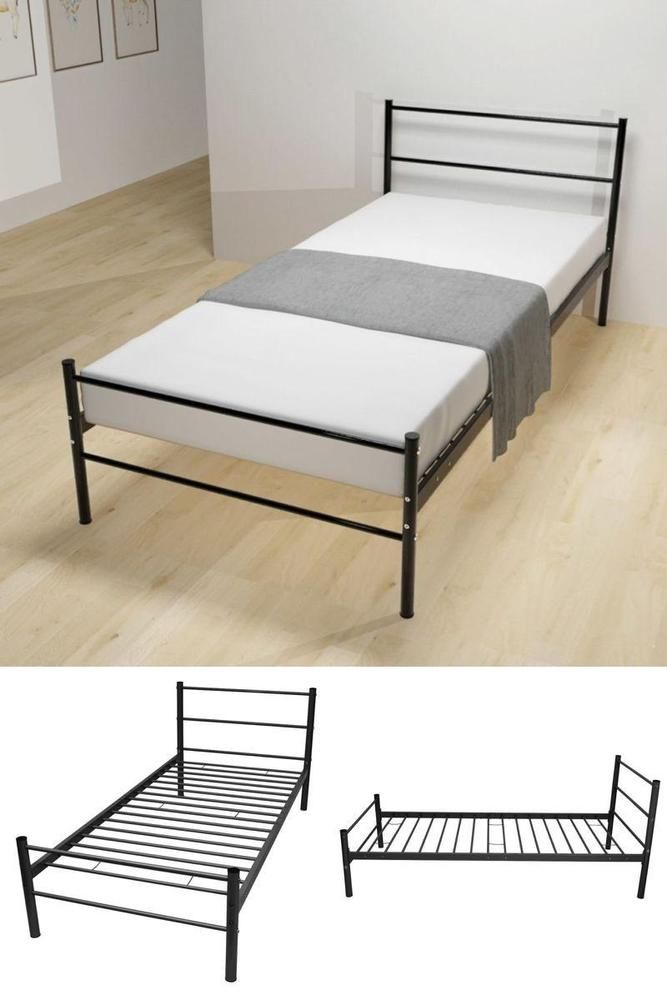 Awesome Black Single Metal Bedstead Teens Bed Frame Bedroom Guest Dorm Room Furniture In 2018 - Modern bedstead Modern