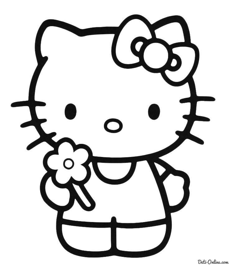 Раскраска Kitty с цветочком | Hello kitty картинки, Hello ...