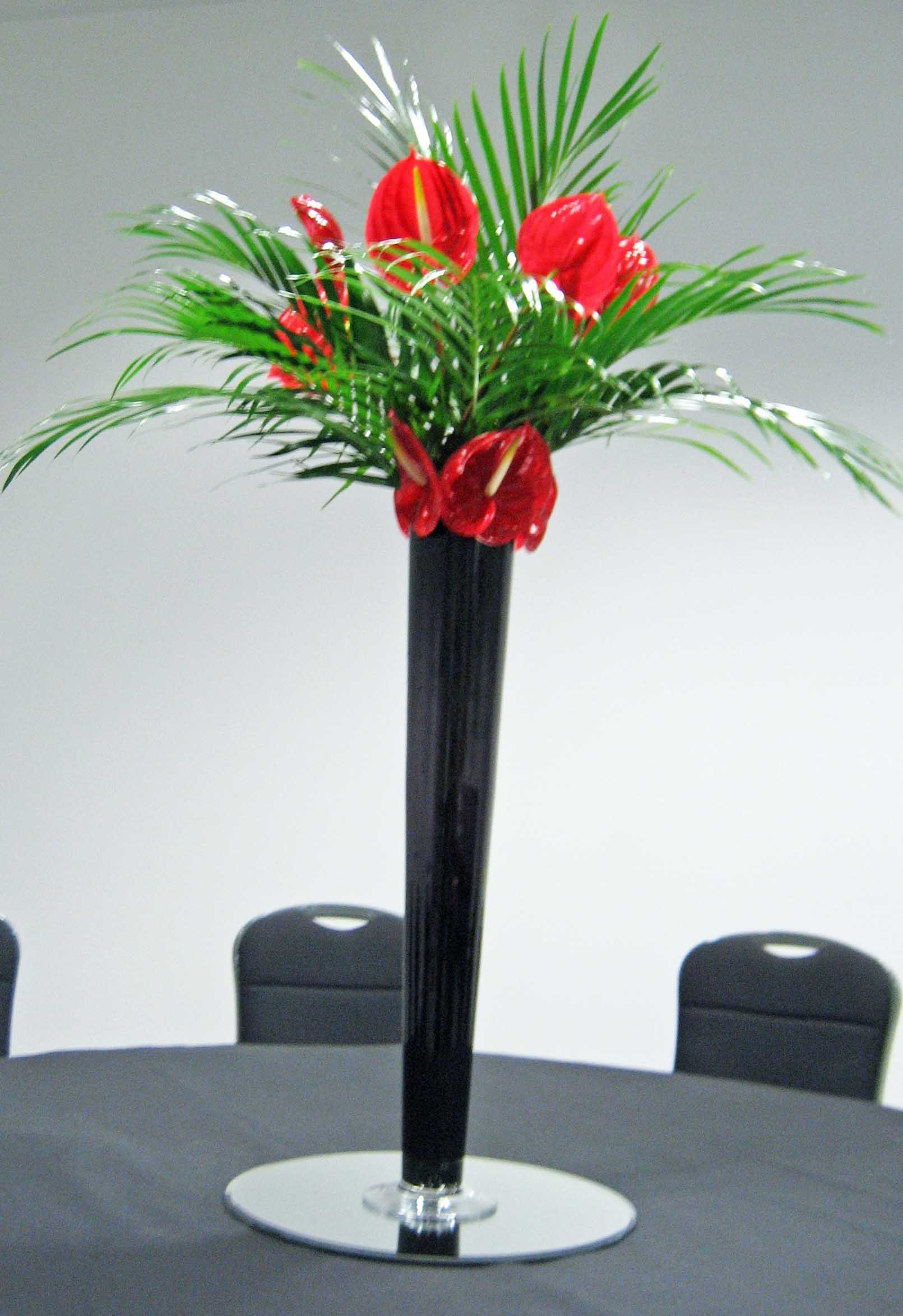 T8 tall black flute vase with red anthuriums event decorations t8 tall black flute vase with red anthuriums reviewsmspy
