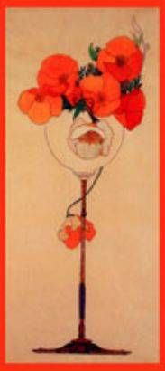 Red Poppies in a Glass- Art Nouveau by Art nouveau and deco - V01520 - GalleryDirect