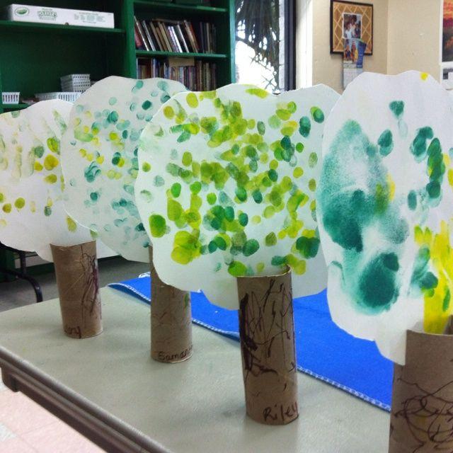 pintrest preschool toilet paper roll   Toilet paper roll fingerprint trees for arbor day.   My Daycare Ideas