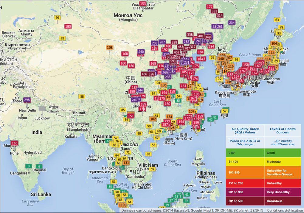 Carte Aqi Montre Les Niveaux De Pollution En Chine