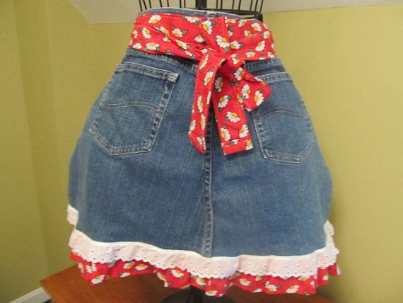 Denim Apron with Ruffle Trim by MomsInStitches on Etsy, $18.00