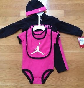 Nike Air Jordan Newborn Baby Girl 5 Piece Outfit Set 6 9m