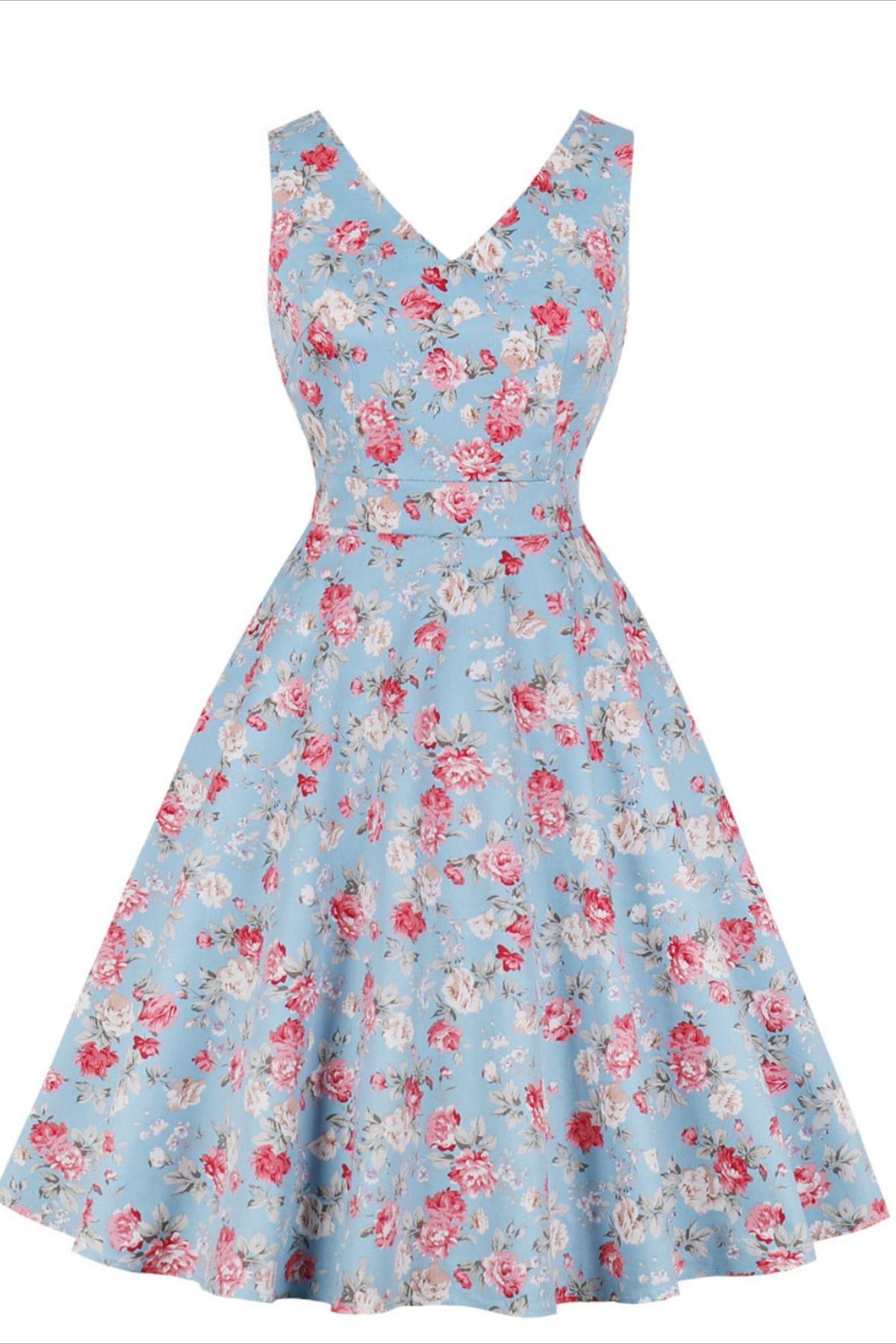 V Neck 1950s Vintage Short Dress Vintage Short Dress Floral Blue Dress Vintage Dresses [ 1800 x 1200 Pixel ]