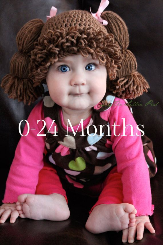 Cabbage Patch Kid Inspired Crochet Hat - Wig - For Baby Sizes 0-24 ...