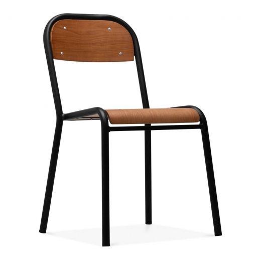 Cult Living Albert School Style Metal Dining Chair Veneer