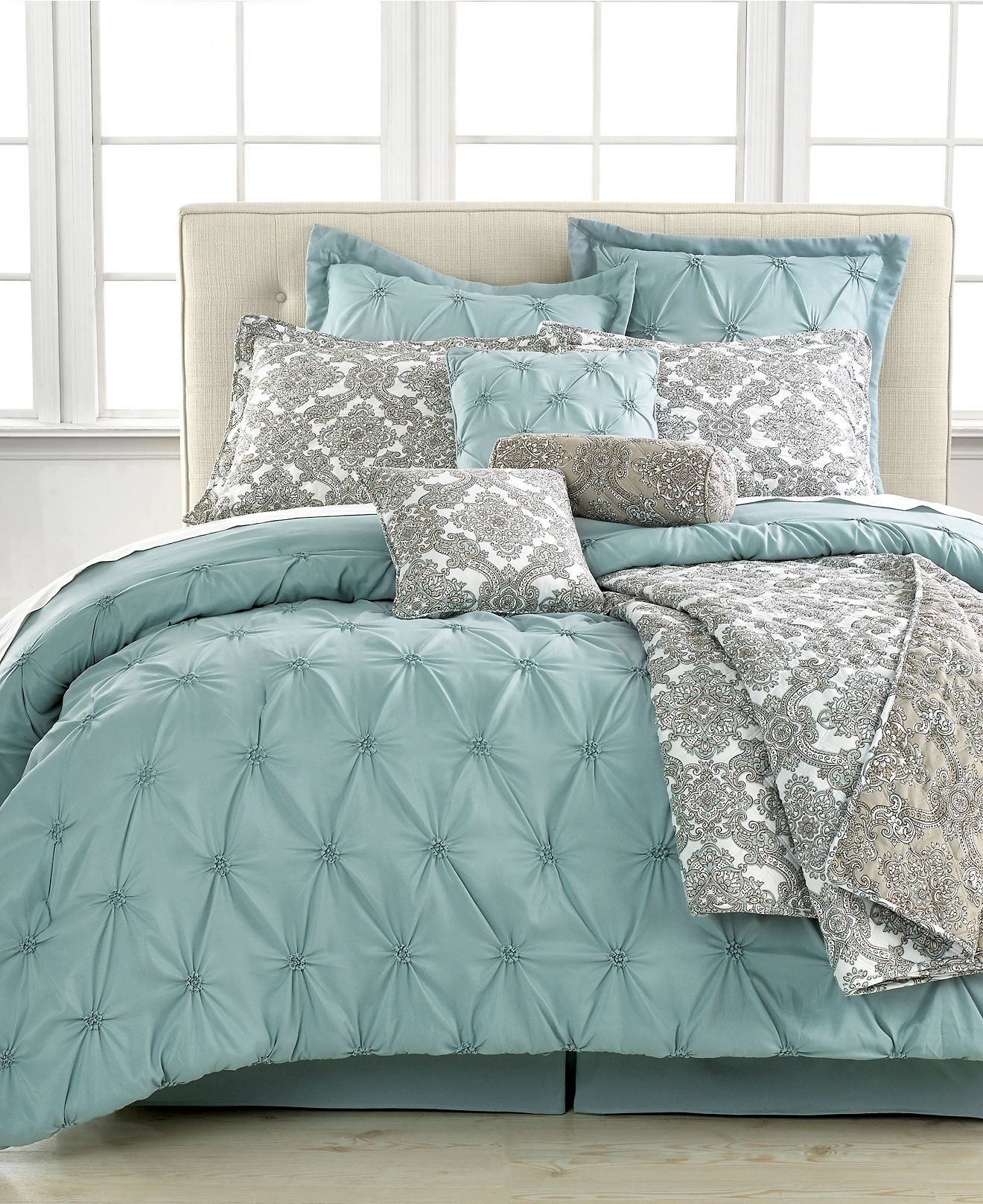 Jasmine blue 10 piece california king comforter set bed for Bed settings