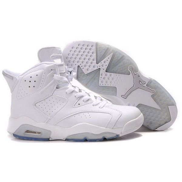 timeless design 48a9e 96fb7 Air Jordan 6 White ❤ liked on Polyvore featuring shoes, sneakers, jordans,  white trainers, white sneakers and white shoes