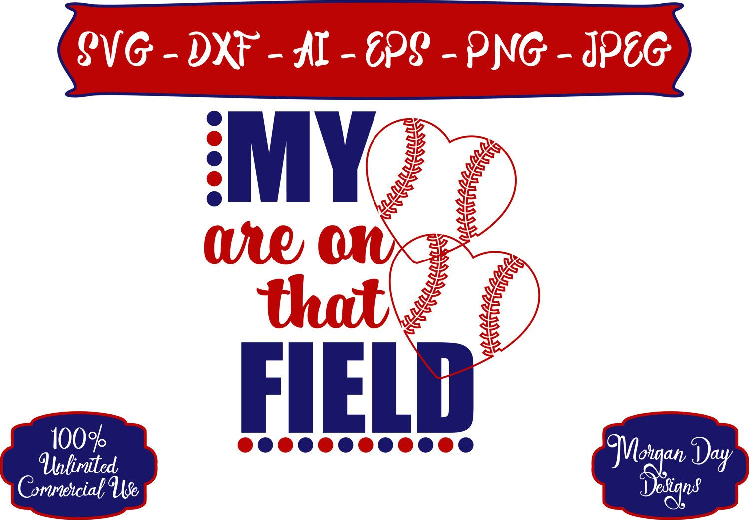Baseball Mom SVG My Hearts are on that Field SVG Baseball