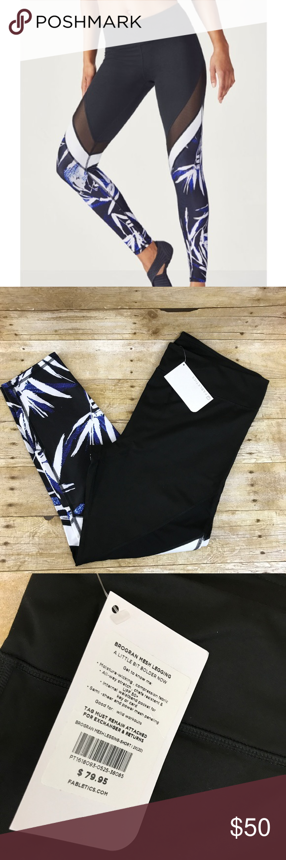 87a4a4fa24d2b Fabletics Brogran Mesh Leggings New with tags. Chafe-Resistant  Moisture-Wicking All-way Stretch Breathable Hidden Pockets UPF Protection  Waist 38 ...