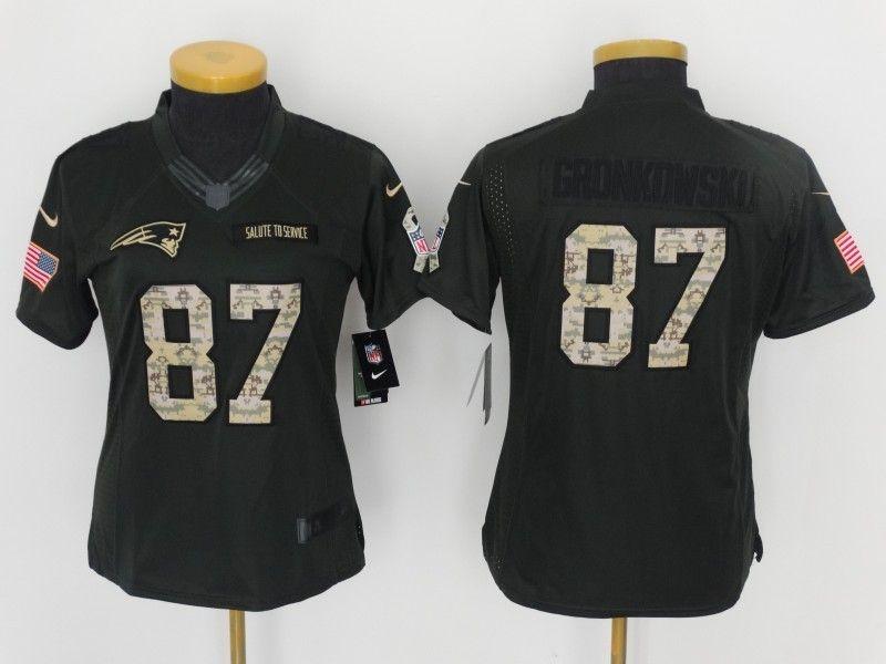 official photos e800d 0b94a Women New England Patriots #87 Gronkowski Anthracite Salute ...