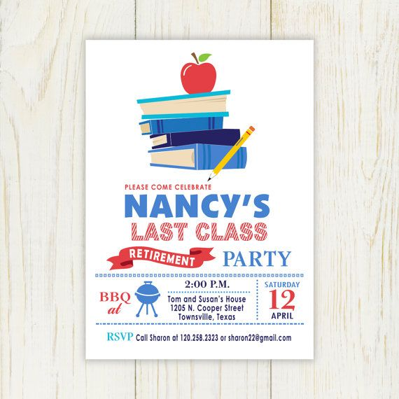 Teacher Retirement Invitation Staked Books with apple - Printable ...