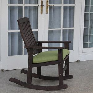 Perfect Delahey Wood Porch Rocking Chair, Dark Brown