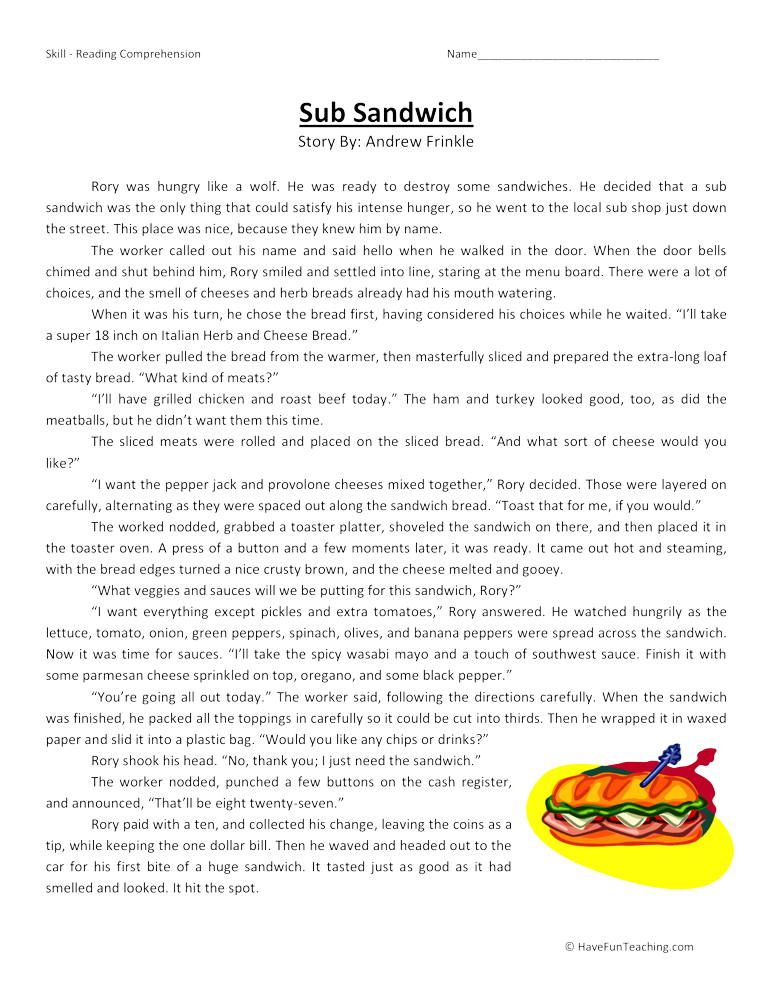 Sub Sandwich Reading Comprehension Worksheet Reading