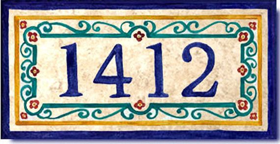 House Numbers Address Tile Custom Sign Plaque By Luciafortart 75 00