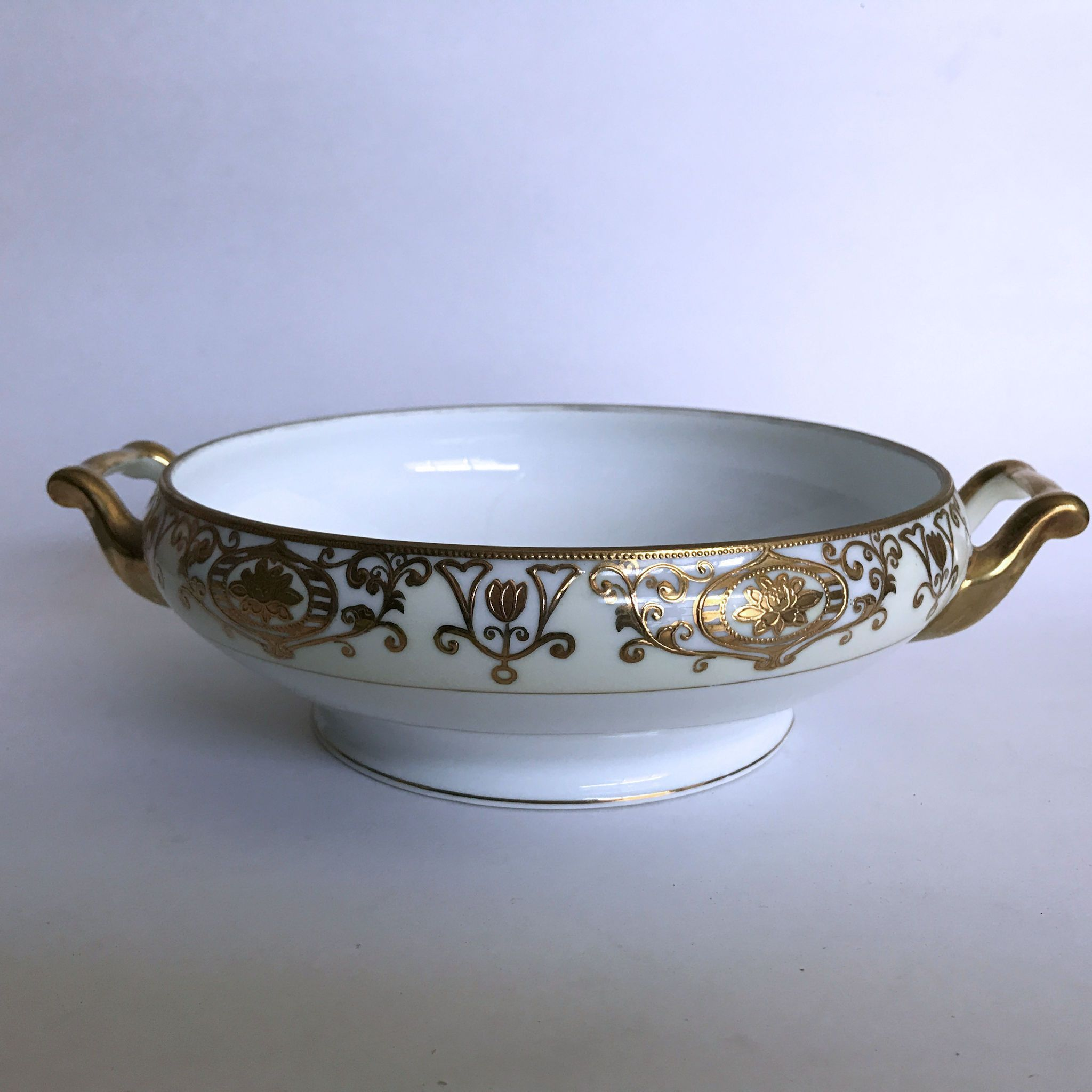 Vintage Noritake Christmas Ball 175 Serving Bowl Cream with Gold Flowers Scrolls