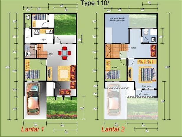Desain Rumah 3 Kamar Tidur Type 110 Denah Rumah Rumah Desain Rumah