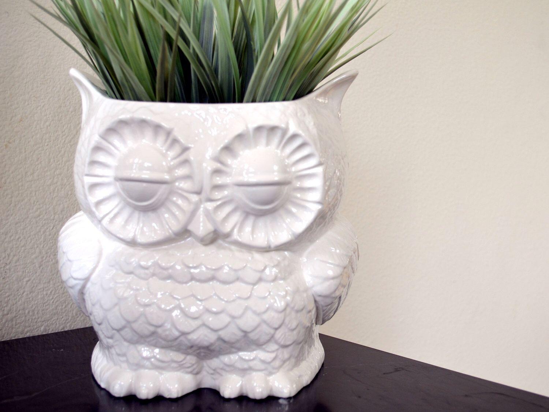 Vintage Retro Decor Custom Ceramic Large Owl Planter Plant