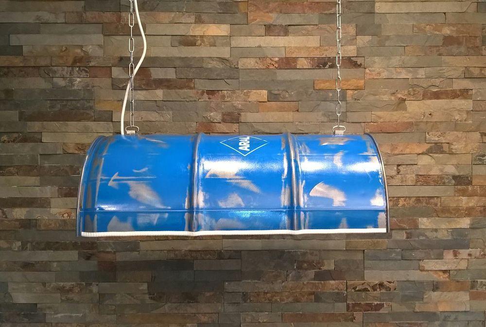 Hängelampe - Oelfass - Fass Lampe - ARAL - blau industrie Look in ...