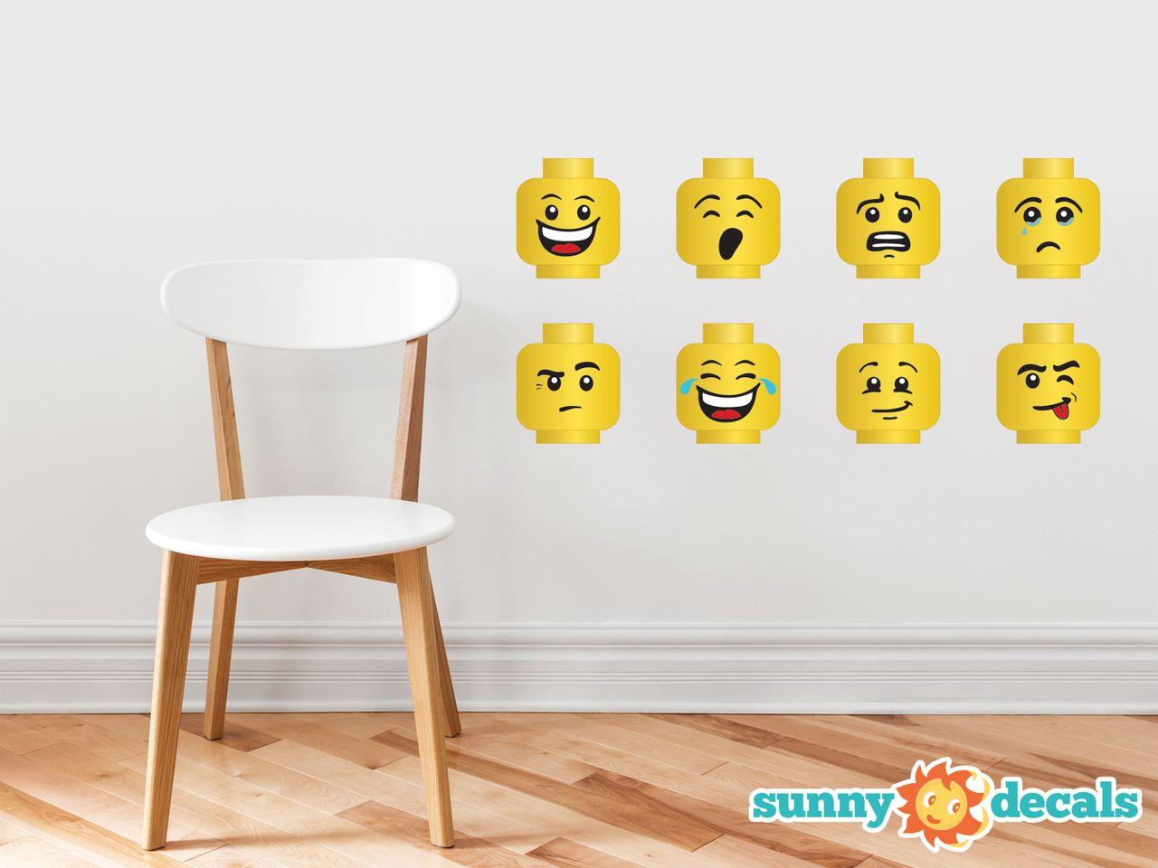 building brick minifigure heads wall decals set of 8 emoji wall